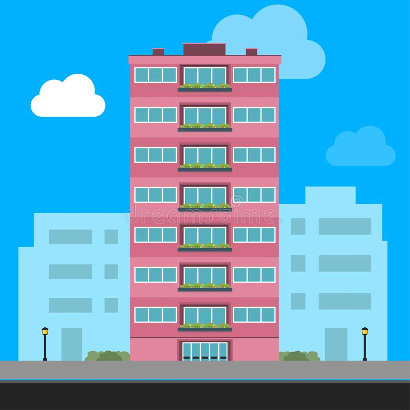 Traditional house. Family home. Flat design vector concept illustration. stock illustration