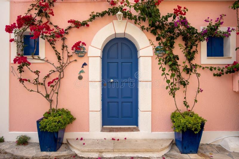 Traditional house in Greece islands , blue door stock photo