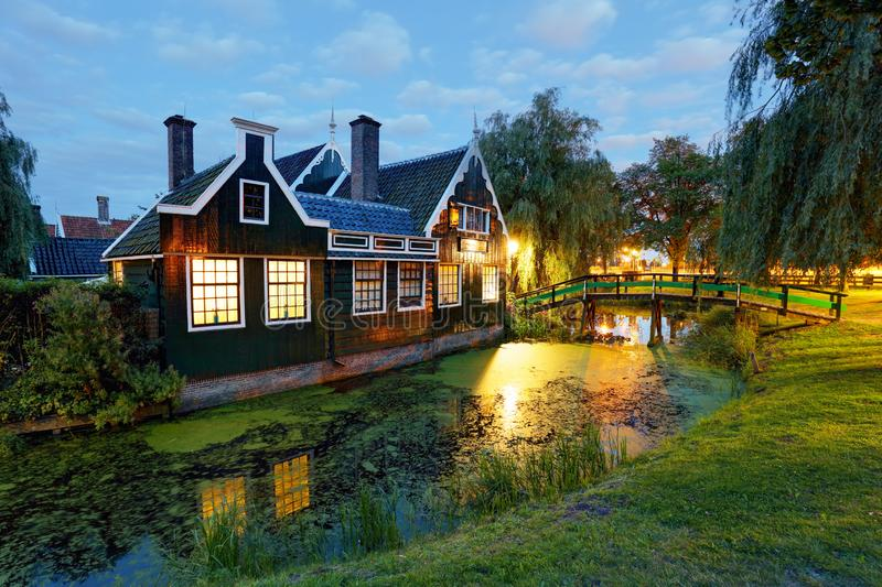 Traditional house at the historic village of Zaanse Schans, Netherlands stock photography