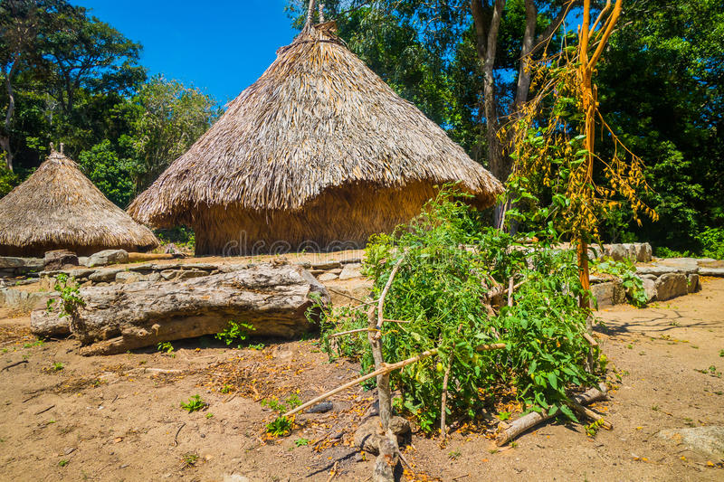 Traditional house of Kogi people, indigenous ethnic group, Colombia. Traditional house of Kogi people, indigenous ethnic group in Tayrona National Park, Santa stock photo