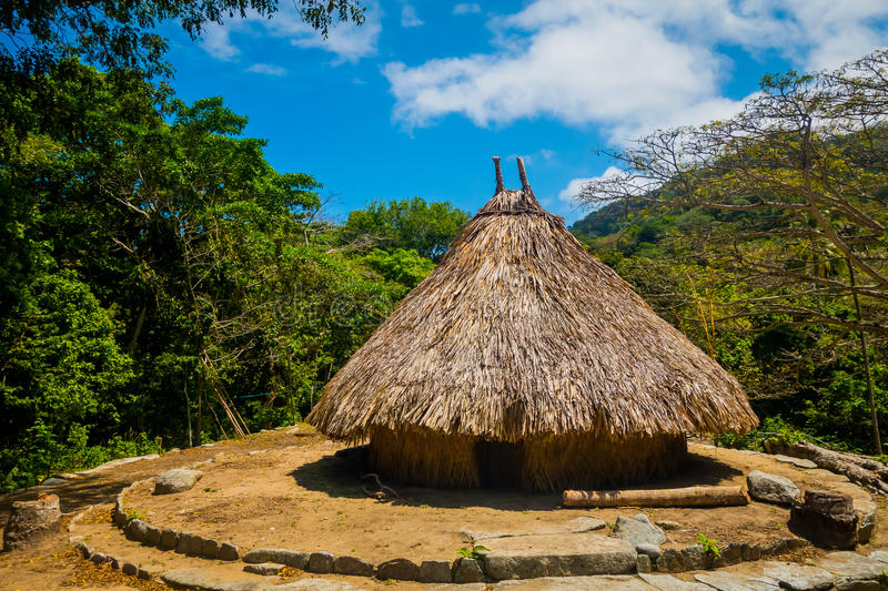 Traditional house of Kogi people, indigenous. Ethnic group in Tayrona National Park, Santa Marta, Colombia stock photography