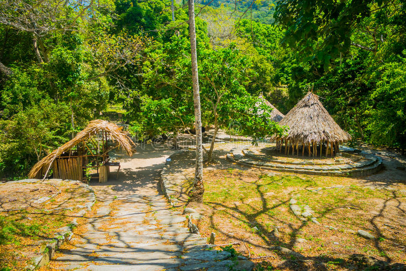 Traditional house of Kogi people, indigenous. Ethnic group in Tayrona National Park, Santa Marta, Colombia stock image