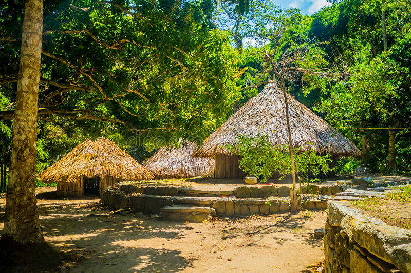 Traditional house of Kogi people, indigenous. Ethnic group in Tayrona National Park, Santa Marta, Colombia royalty free stock images