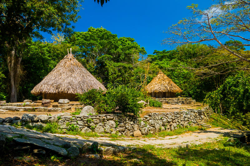 Traditional house of Kogi people, indigenous. Ethnic group in Tayrona National Park, Santa Marta, Colombia stock images