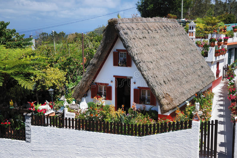 Traditional house on madeira royalty free stock photos