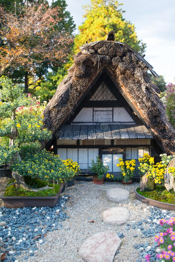 Traditional house model and garden at  Nagoya castle garden stock photography