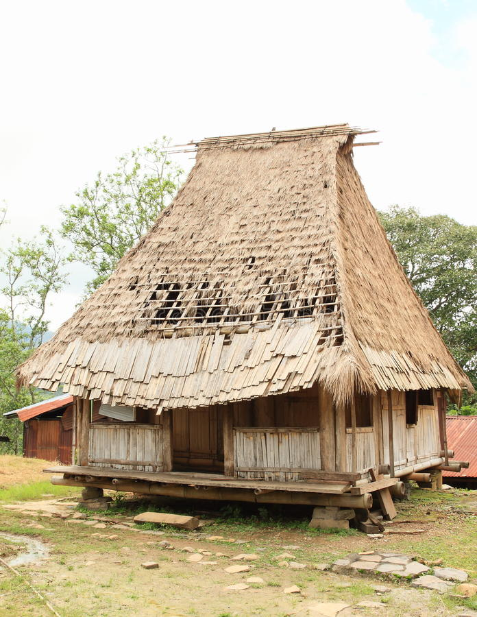 Traditional house in open-air museum in Wologai royalty free stock image