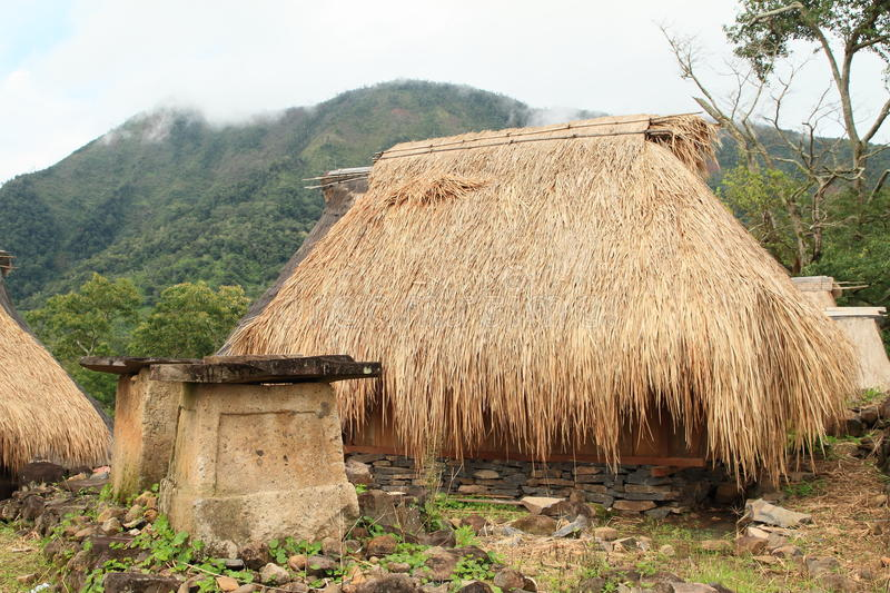 Traditional house in open-air museum in Wologai royalty free stock photography