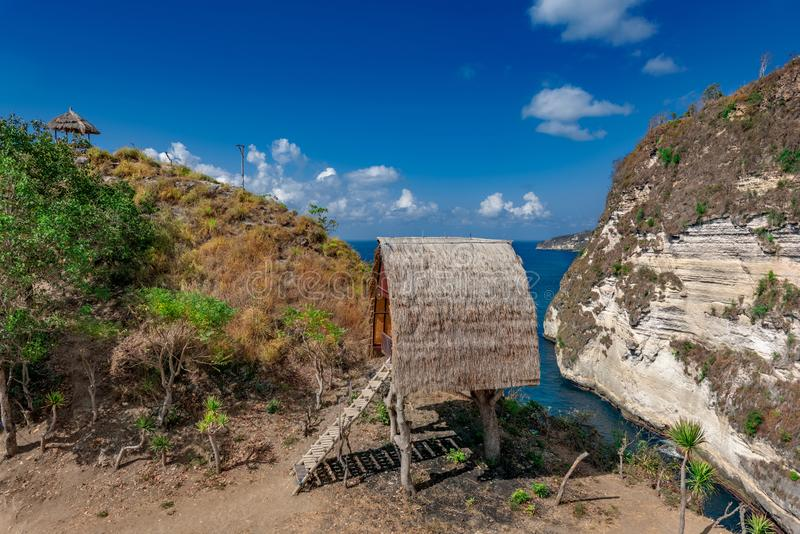 Traditional house on tree ,House on tree in Nusa Island,Bali,Indonesia.  royalty free stock photos