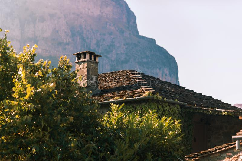 Traditional house and village in the mountain in Greece in the Zagoria region. National park of Pindus mountain royalty free stock images