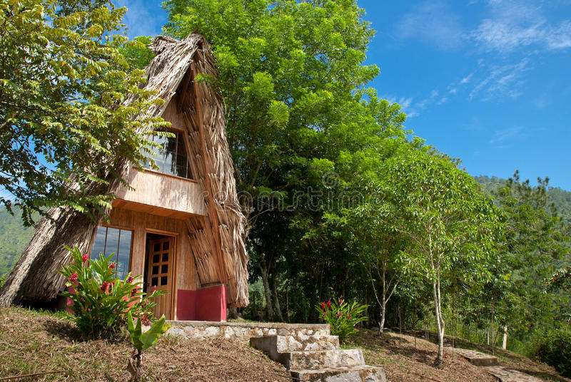 Traditional house in the wood stock images