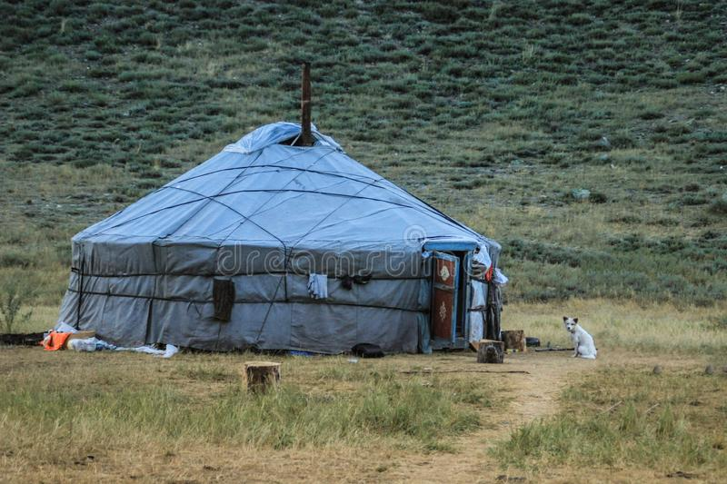 The traditional house is a yurt of Tuva and Mongol nomads. stock image