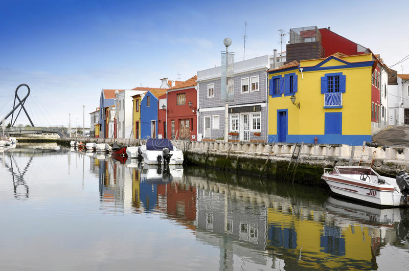 Traditional houses of Aveiro. In Portugal royalty free stock photo