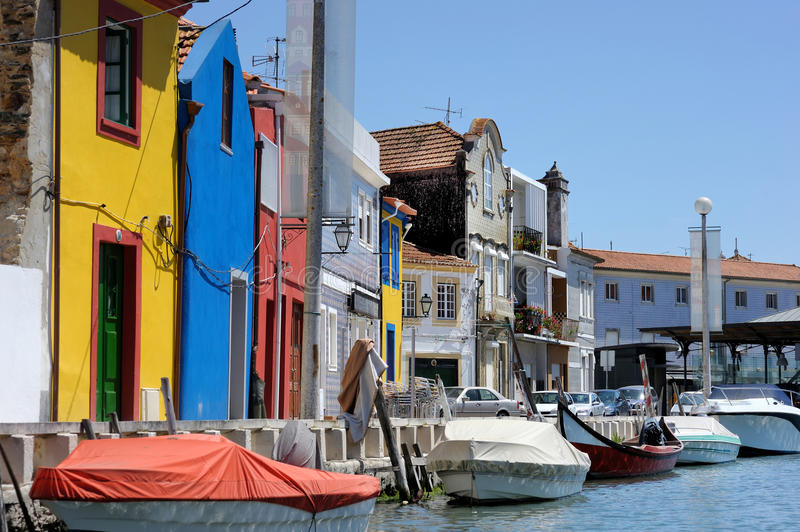 Traditional houses of Aveiro. Traditional colorful houses of Aveiro royalty free stock images