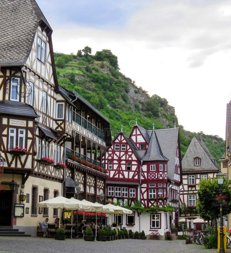Traditional houses in Bacharach Germany stock images
