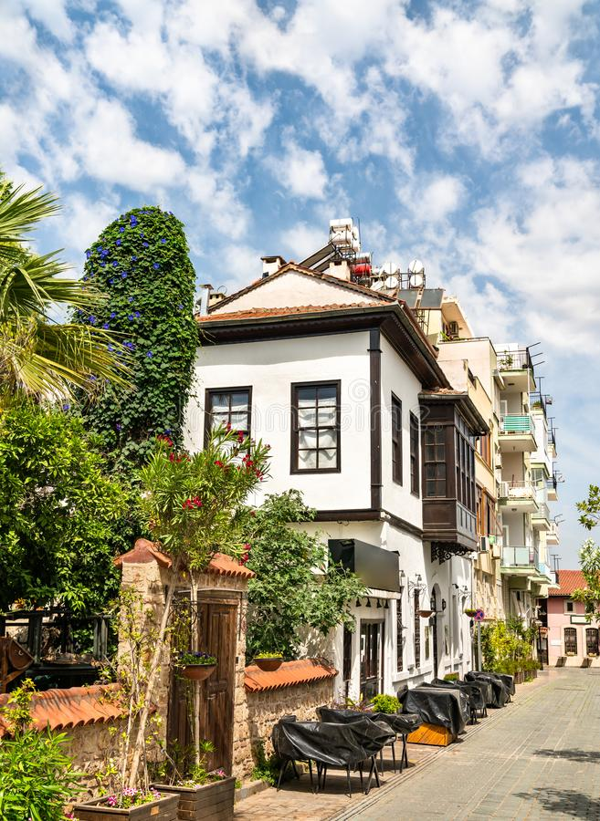 Traditional houses in the old town of Antalya, Turkey stock photography