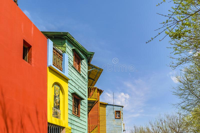 Traditional Houses, La Boca, Argentina. Exterior view of traditional rustic colored old architecture at famous la boca neighborhood, Buenos Aires stock photography