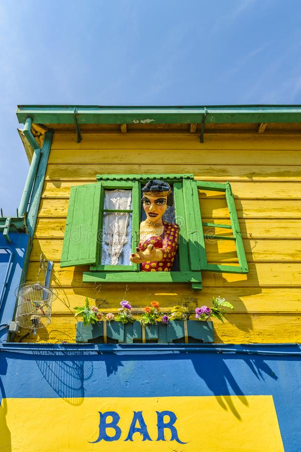 Traditional Houses, La Boca, Argentina. Exterior view of traditional rustic colored old architecture at famous la boca neighborhood, Buenos Aires stock photo