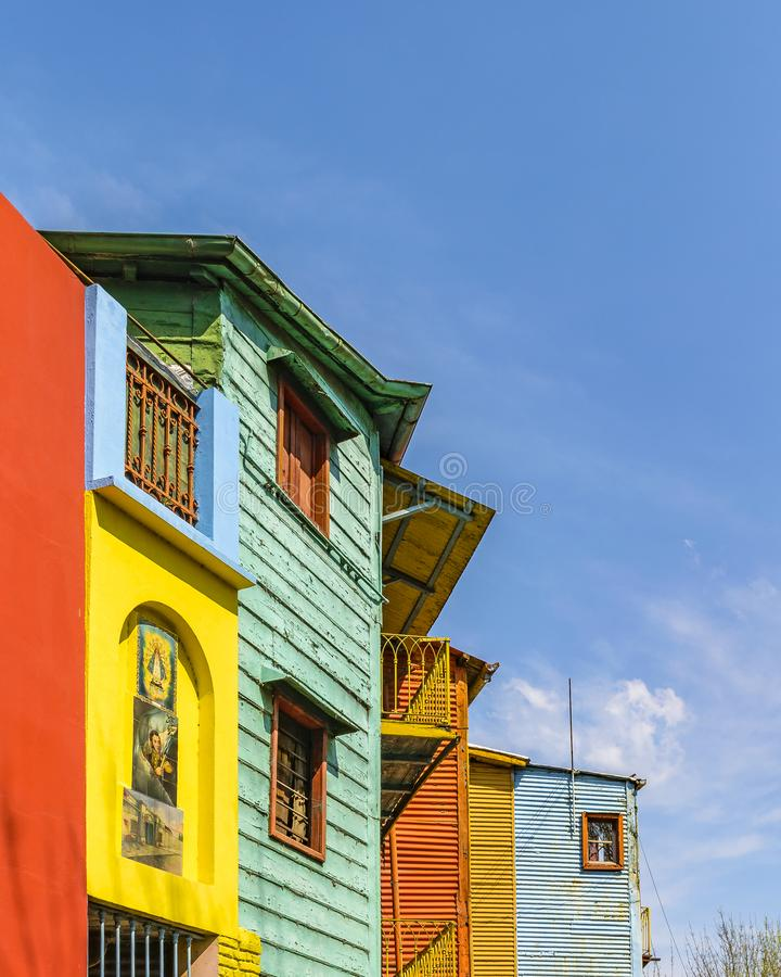 Traditional Houses, La Boca, Argentina. Exterior view of traditional rustic colored old architecture at famous la boca neighborhood, Buenos Aires royalty free stock image