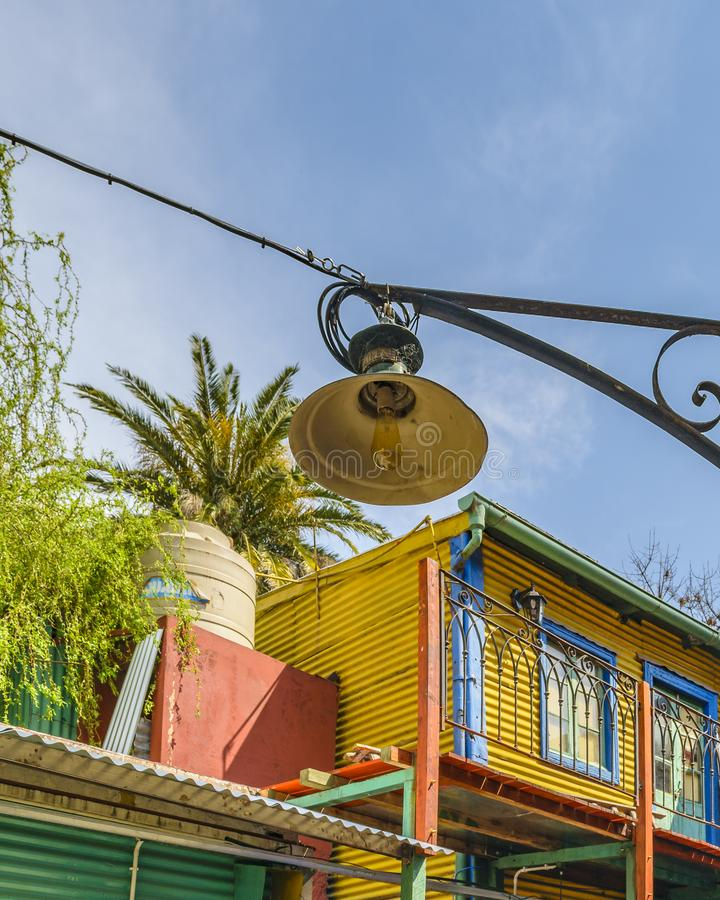 Traditional Houses, La Boca, Argentina. Exterior view of traditional rustic colored old architecture at famous la boca neighborhood, Buenos Aires stock photos