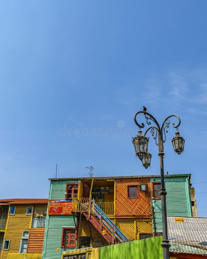 Traditional Houses, La Boca, Argentina. Exterior view of traditional rustic colored old architecture at famous la boca neighborhood, Buenos Aires royalty free stock photo