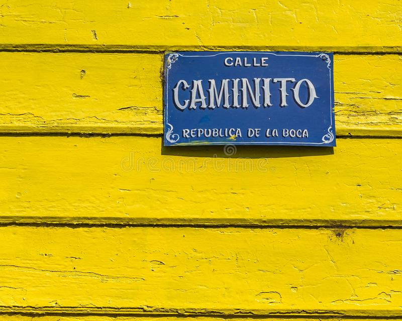 Traditional Houses, La Boca, Argentina. Exterior view of traditional rustic colored old architecture at famous la boca neighborhood, Buenos Aires royalty free stock photography