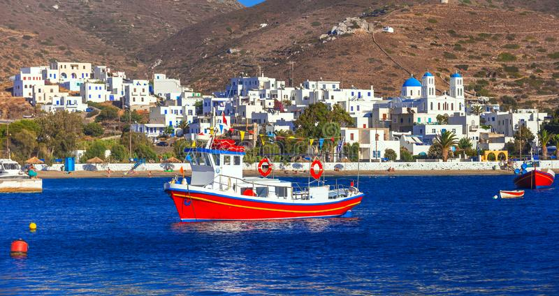 traditonal fishing boats in Katapola port, Amorgos island, Greece royalty free stock photography