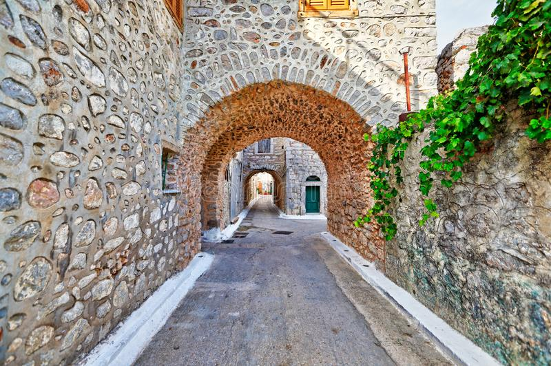 Traditional houses in Vessa of Chios, Greece. Traditional houses in the medieval mastic village of Vessa on the island of Chios, Greece royalty free stock image