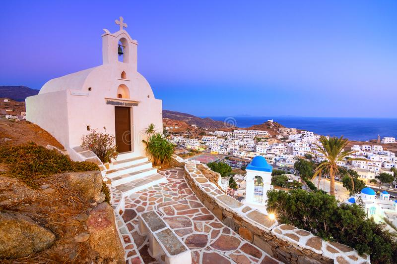 Traditional houses, wind mills and churches in Ios island, Cyclades. Traditional houses, wind mills and churches in Ios island, Cyclades, Greece stock image