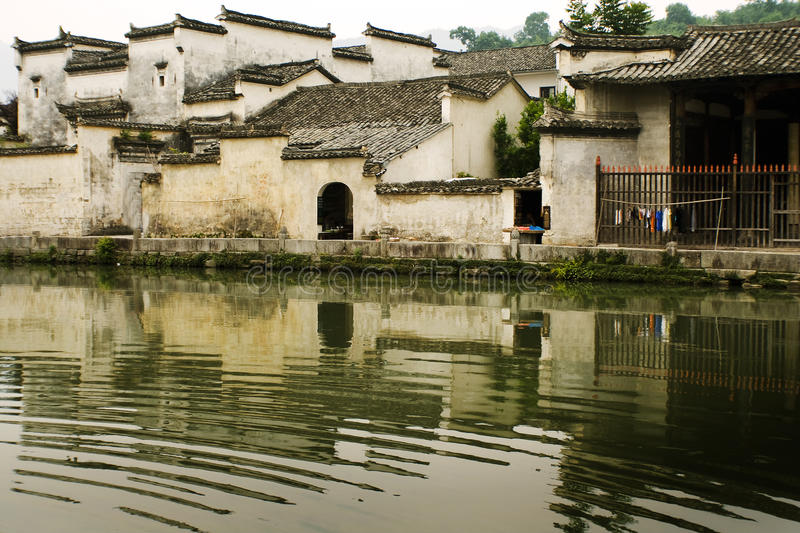 Traditional huizhou houses reflected on water royalty free stock photos