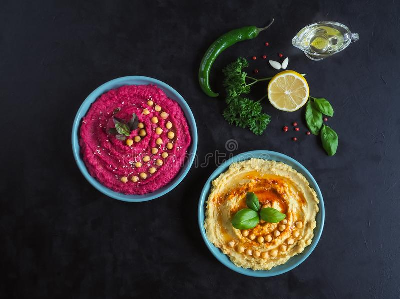Traditional hummus on a plate. The view from the top. stock photos