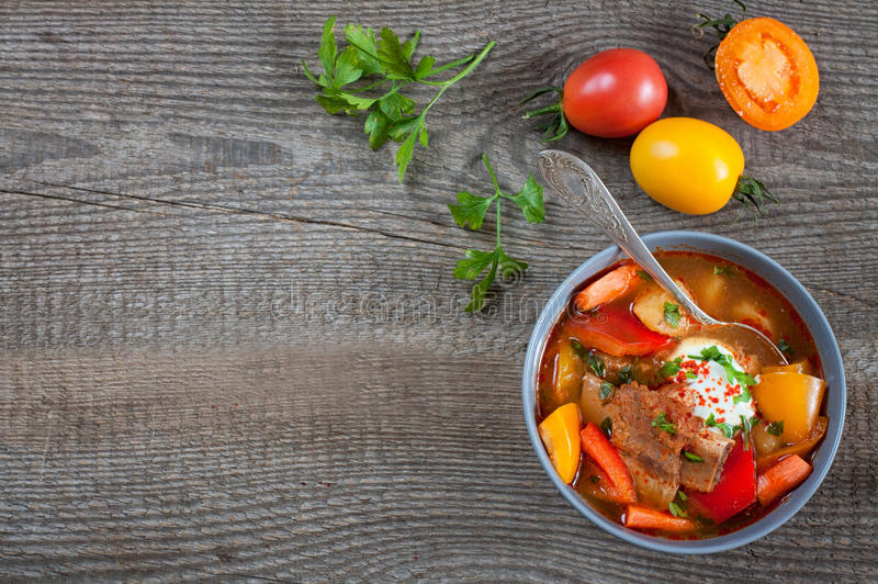 Traditional hungarian dish bograch goulash, top view royalty free stock photography