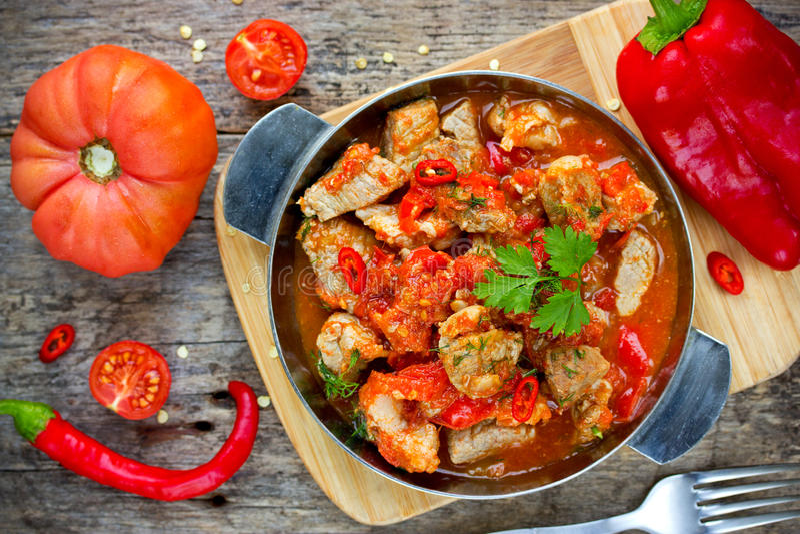 Traditional hungarian paprikash stock photo