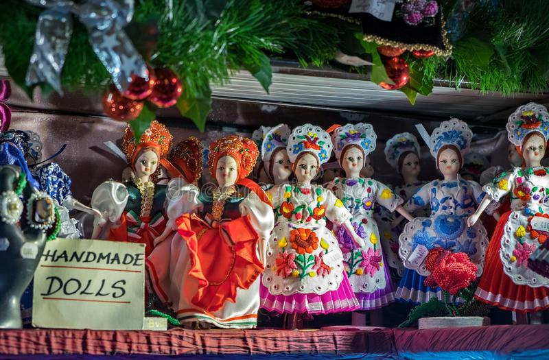 Traditional Hungarian souvenir dolls at gift store. Great Market royalty free stock photography