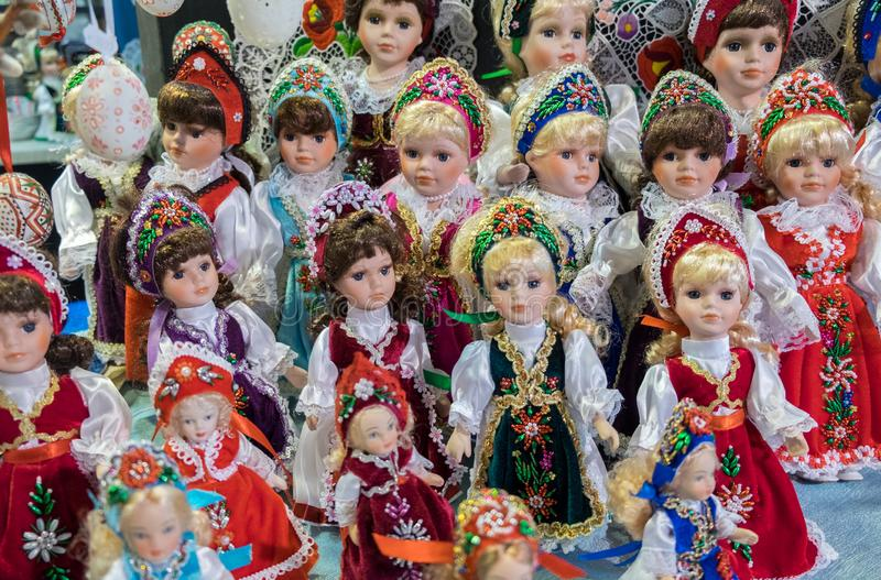 Traditional Hungarian souvenir dolls at gift store. Great Market. BUDAPEST, HUNGARY - DECEMBER 8, 2016: Traditional Hungarian souvenir dolls at gift store. Great royalty free stock photos