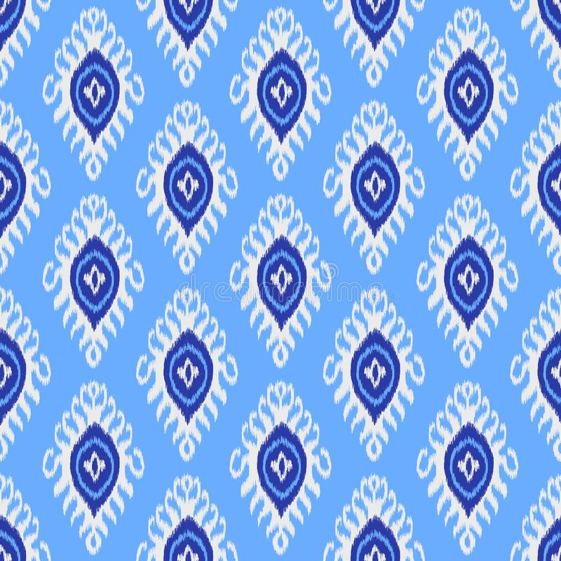 Traditional ikat pattern. Seamless geometric pattern, based on ikkat fabric style. stock illustration