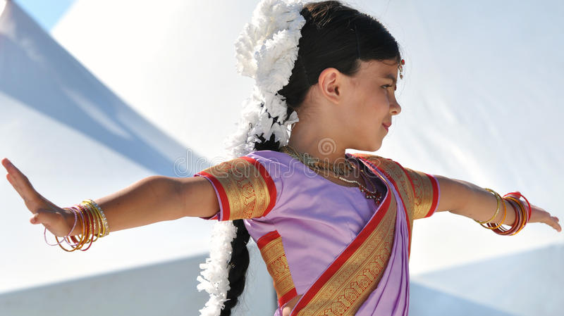 Traditional Indian Dancer. A young women performs traditional Indian dance at edmonton's Heritage Festival stock photo