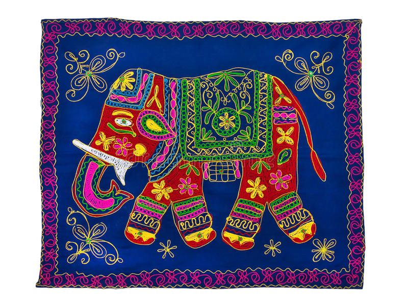 Traditional Indian embroidery pattern. Elephant royalty free stock image