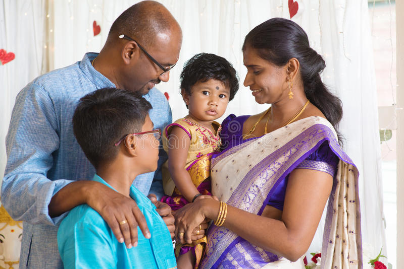 Traditional Indian family portrait. royalty free stock image