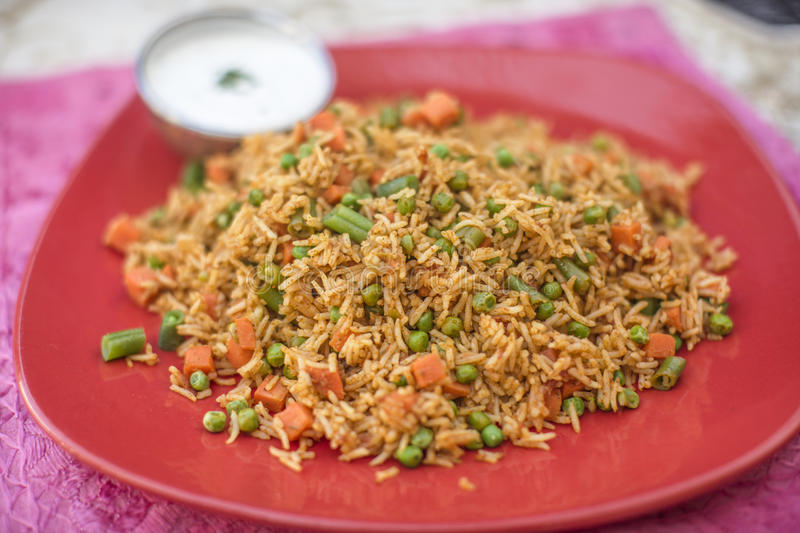Traditional indian food Vegetable Biryani with rice stock photos