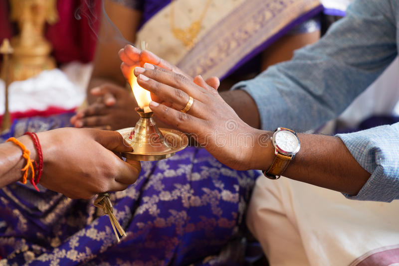 Traditional Indian hindu praying rituals. stock photo