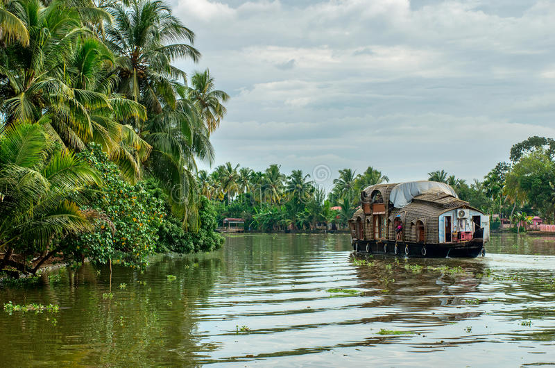 Traditional Indian houseboat in Kerala, India stock photo