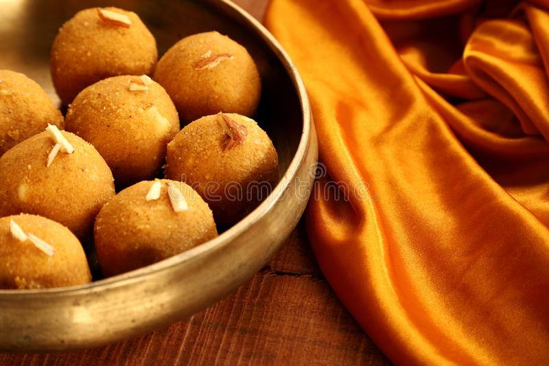 Traditional Indian Round Ball Shaped Sweet Made from Gram Flour. Known as Besan ke Laddo stock image