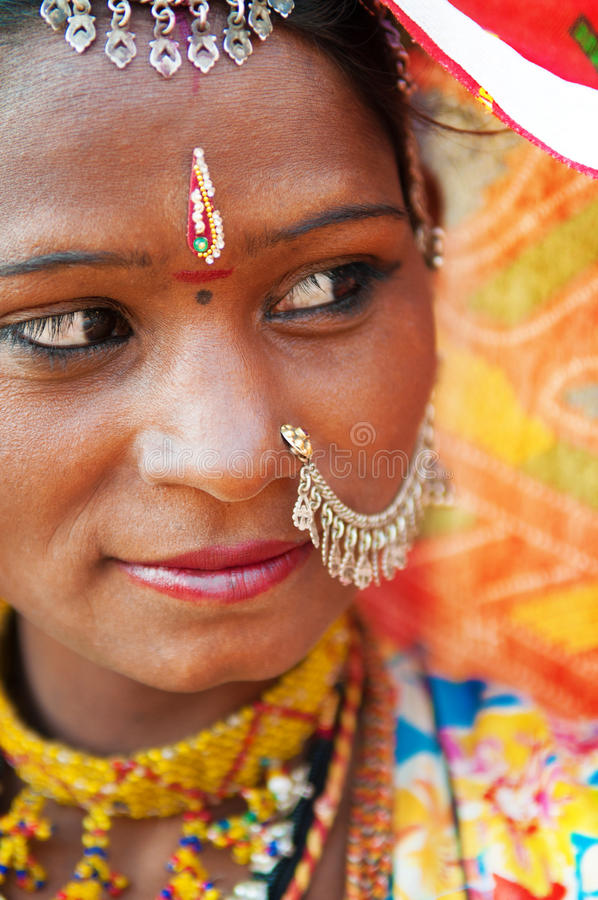 Traditional Indian woman looking away stock photo