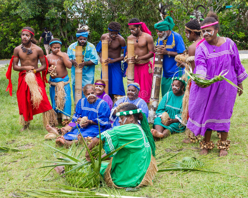 Traditional indigenous choir in New Caledonia royalty free stock photos