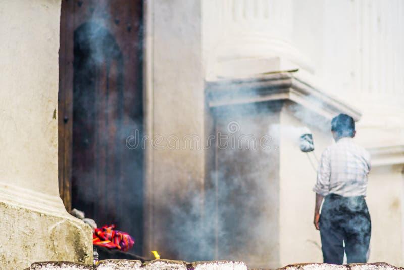Traditional indigenous maya ceremony in Chichicastenango - Guatemala royalty free stock photos