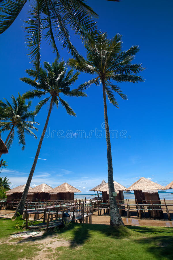 Traditional Indonesian Chalet In An Island Resort Royalty Free Stock Photos
