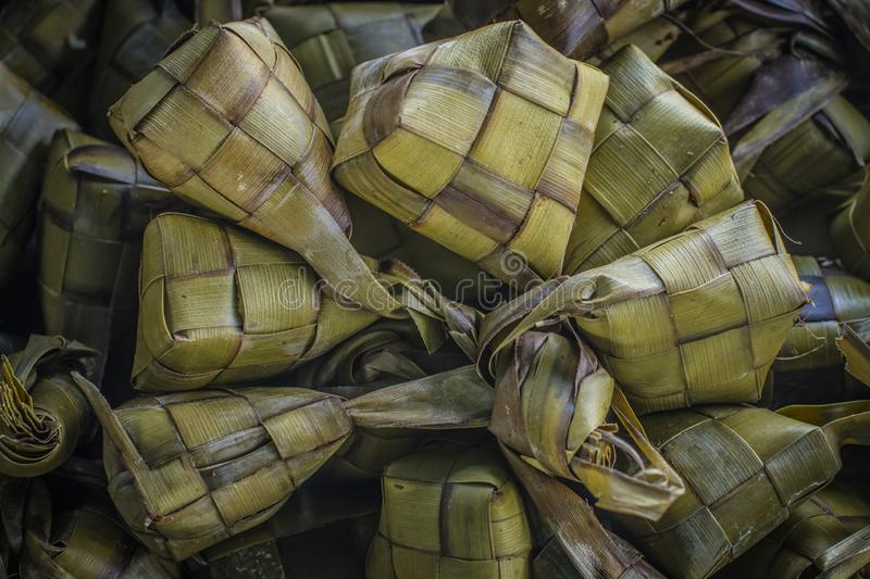 Traditional Indonesian food ketupat served annually at Eid Mubarak.  royalty free stock photography
