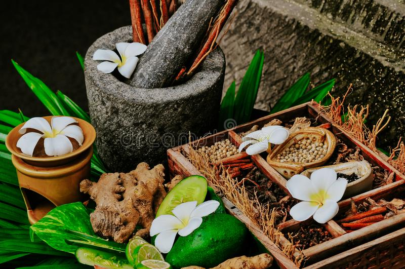 Traditional ingredients of spa recipe stock image
