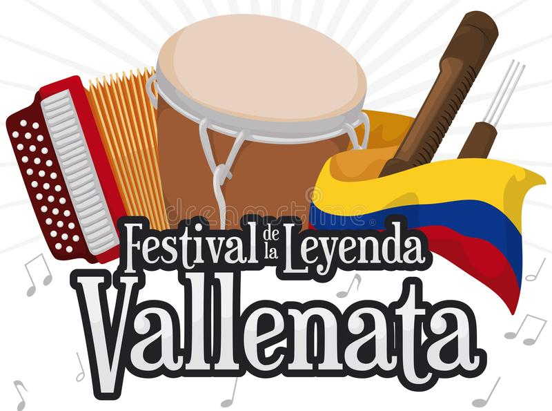 Accordion, Caja Vallenata, Guacharaca and Flag for Vallenato Legend Festival, Vector Illustration. Traditional instruments for Vallenato Legend Festival -written royalty free illustration